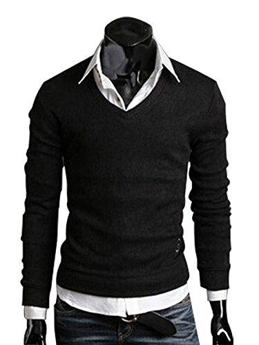 Minetom Herren Lange Ärmel Basic Pullover V-Ausschnitt T-Shirt Casual Sweatshirt Langarmshirts Schwarz