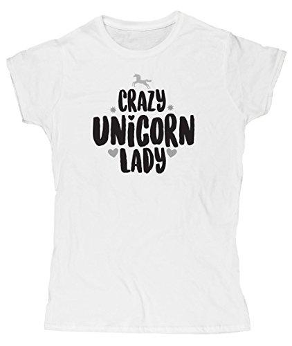 hippowarehouse-crazy-unicorn-lady-womens-fitted-short-sleeve-t-shirt