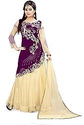 Fabcartz Self Design Net Lehenga Choli Dupatta Set (FabC_3_Beige Purple_Free Size)