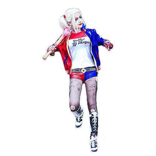 Fanstyle Veste Suicide Squad Clown Fille Manteau T-Shirt Short Gants Cosplay Costumes 4 pièces pour Adulte