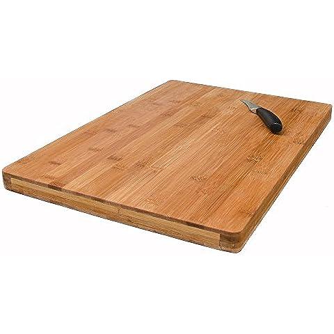 Tabla de Cortar de bambú | 49x34cm tamaño grande 3 cm de espesor | Tabla de Cocina de madera