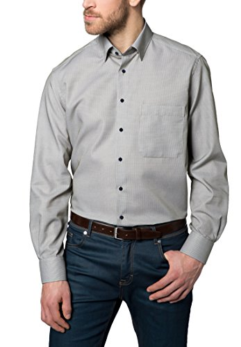 Eterna Long Sleeve Shirt Comfort Fit Fancy Weave Checked Verde