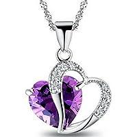 homiki Collier En Argent femmes Accent coeur améthyste Diamant Swarovski Elements Crystal Love Collier Pendentif