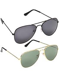 Criba Anti-Reflective Aviator Unisex Sunglasses - (C 6|50|Black Green Color)