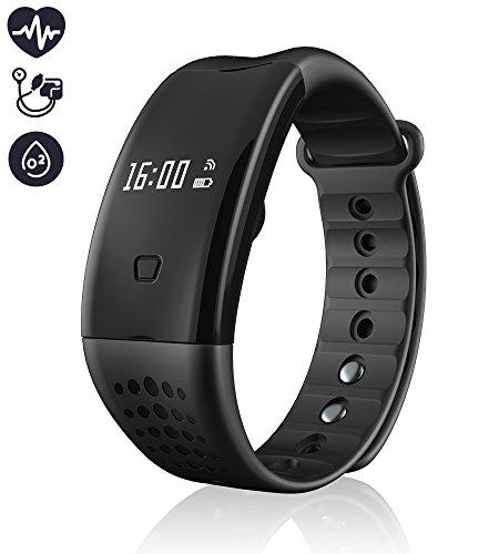 Attività Tracker, migliore Fitness Tracker Bluetooth 4.0 smart Bracciale Fitness / ossigeno nel sangue / frequenza cardiaca pressione sanguigna inseguitore di allenamento sonno Monitor Contapassi Wristband con touch screen OLED per il sistema Android e iOS (Nero)