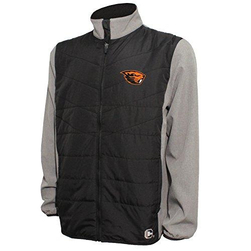 Crable NCAA Herren Gesteppte Vorderseite Panel Bonded Jacke, Herren, Quilted Front Panel Bonded Jacket, Black/Gray Heather, Medium Quilted Zip-front-jacke