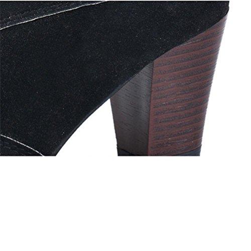 QPYC Stivali da donna Martin Stivali da Chelsea occidentali Stivali corti Cinturino con tacco ruvido Stivali con tacco medio con tacco alto black