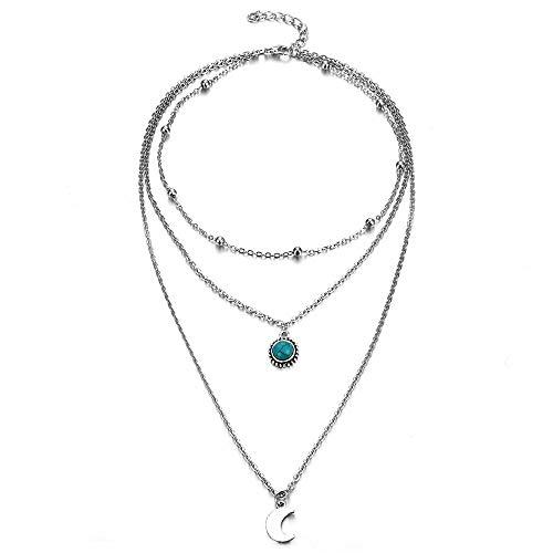 bc7a1003a873 ZUXIANWANG Collar Cadena Color Plata Luna multicapa Collar Collar de  abalorios señoras Stone Mujer Regalo Bisutería