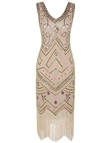 apper Kleid 1920er Gatsby Perlen Pailetten Cocktailkleid L Champagner Rosa (Gatsby-mode Frauen)
