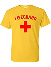 Star and Stripes Lifeguard Cross + T-Shirt - Fancy Dress Beach Party Yellow Printed T Shirt