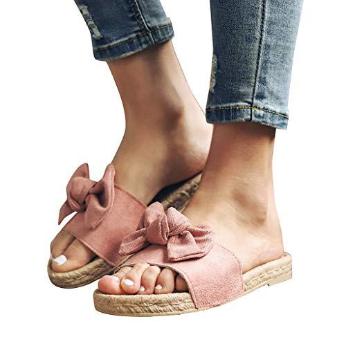 Memefood-Zapato Mujer 2019 sandalias y chanclas, alpargatas planas con aderezo de Arco para Mujeres...
