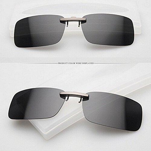 MaMaison007 Polarizzato Clip su occhiali da sole sole occhiali Guida notte visione obiettivo per telaio metallico occhiali - Black