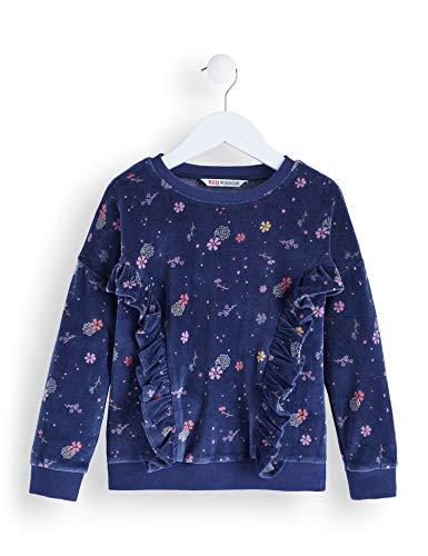 (RED WAGON Mädchen Printed Velvet Sweat Kleid, Blau (Navy), 104 (Herstellergröße: 4))