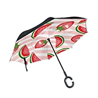 JSTEL Double Layer Inverted Watermelon And Strawberry Umbrella Cars Reverse Windproof Rain Umbrella for Car Outdoor With C Shaped Handle