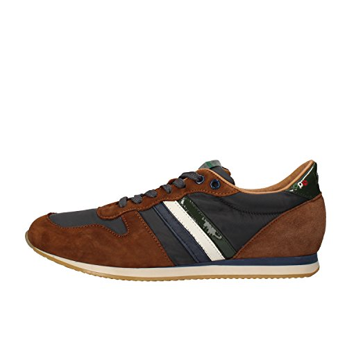 SERAFINI sneakers uomo pelle scamosciata tessuto (42 EU, Marrone/blu)