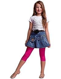 Leggings Cortos 3/4 Niñas Color Sólido Algodón Pantalones Capri Danza Ballet Gimnasia