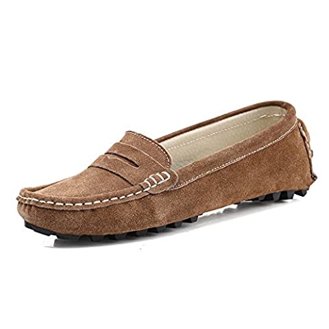 SUNROLAN Rebacca Women's Suede Leather Driving Moccasins Slip-On Penny Loafers Flats Boat Shoes, Khaki, UK 8