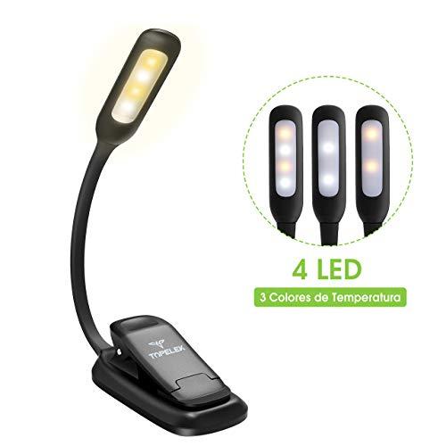Luz de Lectura para Libro, Flexo de Pinza Recargable LED Lámpara Ebook LED 3 Niveles de Intensidad USB Cable de Carga Incluido Luz Portátil Clip para Kindle