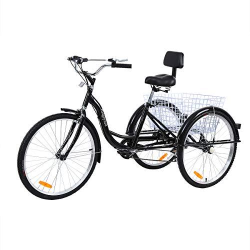 MuGuang Dreirad Für Erwachsene 26 Zoll 7 Geschwindigkeit 3 Rad Fahrrad Dreirad mit Korb(schwarz)