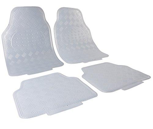 WOLTU Universal Auto Fußmatten Matten 4-teilig ALU Look Chorm Optik Riffelblech Silber AM7170sb
