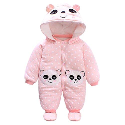 Bébé Filles Combinaison avec Chapeau Footies Ensembles Chaud Barboteuse À Capuche Cartoon Jumpsuit Hiver Tenues, Panda 3-6 Mois