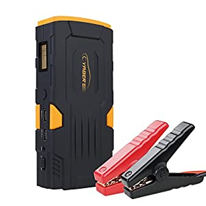 YABER Arrancador de Coches 800A Jump Starter 18000mAh Batería Coche con LCD Display, Dual USB Outputs, LED, Smart Clamp…