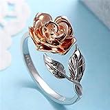 Yesiidor Ring mit Rosenblume und Blättern, offen, Vintage-Stil, modisch, elegant, silberfarben