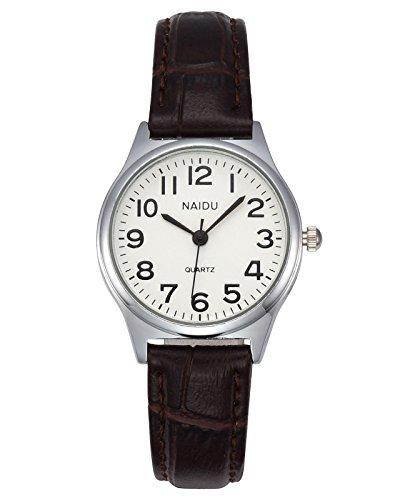 JSDDE Uhren Damen Einfache Stil Armbanduhr Quarzuhr Bambusknoten Lederarmband Uhr Arabische Ziffern Analoge Uhr Quarzuhr Kleideruhr für Frauen Mädchen (braun)