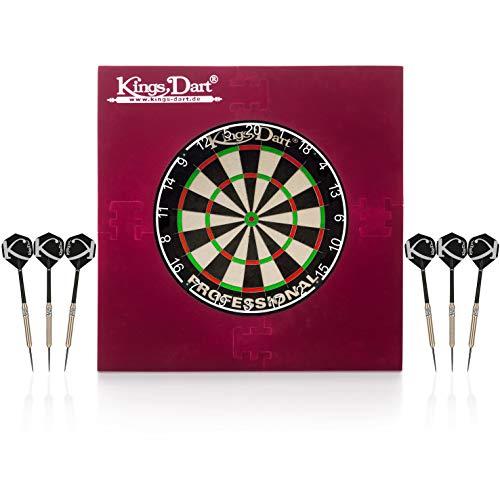 Kings Dart Dart-Set Deluxe | Profi Dartset Komplettset: Turnier-Dartscheibe, 6X Turnier-Steeldarts, Dart-Surround | Sisalborsten, Spider-Feldbegrenzung, Messing-Barrels | Soft- u. Steeldart