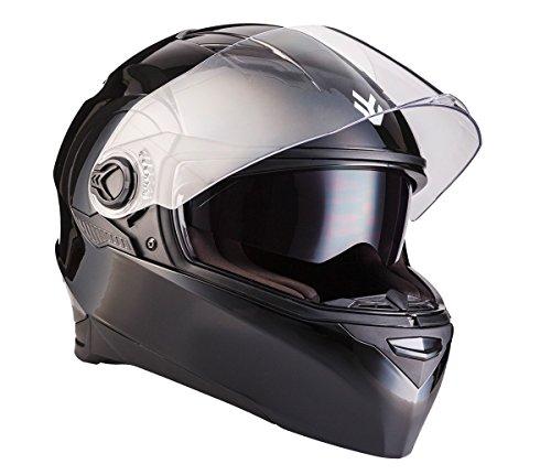 "ARMOR HELMETS® AF-77 \""Shiny Black\"" · Integral-Helm · Full-Face Motorrad-Helm Roller-Helm Scooter-Helm Cruiser Sturz-Helm Street-Fighter-Helm MTB · ECE Sonnenvisier Schnellverschluss Tasche M (57-58cm)"