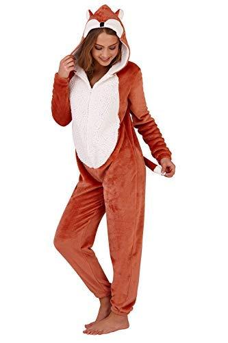 Flauschige Damen Dick Shaggy Overall Alles in Einteiler Schlafanzug Strampler Schlaf Jump Anzüge - Fox - Alles in Einem, L (44-46)