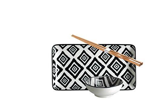 Domestic by Mäser 931036 série Padoue, Sushi – Service 18 pièces, rectangulaire, pour 6 personnes, décoré dans la couleur Porcelaine, Bleu, 55 x 30 x 20 CM, 18 unités