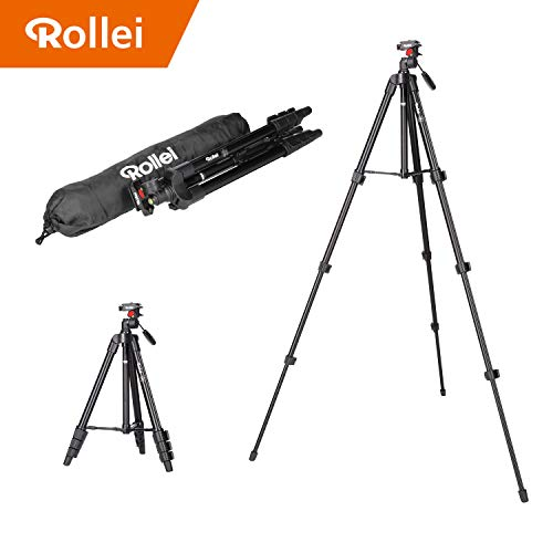 Rollei Compact Traveler Star S1 - kompaktes Videostativ aus Aluminium mit bis zu 2 kg Traglast, inkl. Stativkopf und Schnellwechselplatte - Schwarz