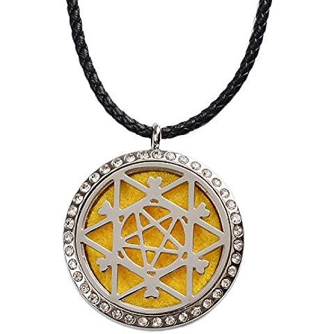 M. JVisun Aromaterapia Infinite Universe diamante ciondolo Olio Essenziale Diffusore di profumo Collana in acciaio 316L acciaio chirurgico anallergico + 24