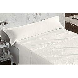 Burrito Blanco Juego de Sábanas de Coralina 3 Piezas (Encimera, 1 Funda de Almohada y Sábana Bajera Ajustable) para Cama de Matrimonio de 135x190 cm hasta 135x200 cm, Beige