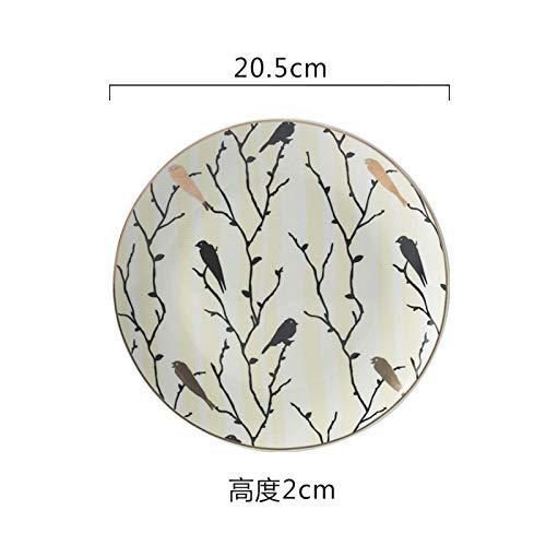 Creative home disc neue vogel muster teller geschirr keramikteller tägliche keramik frühstück teller 20,5x2 cm (Muster, Vogel Geschirr)