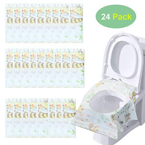 24 pcs potty seat cover minetom copertura monouso wc extra large copertura water da viaggio adatto per viaggi, bambini, adulti, allenamento vasino