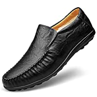 MYCHOME Fashion Men's Classic Business Penny Loafers Soft PU Leather Dress Wedding Breathable Casual Shoes Anti-slip Flat Round Toe Slip-on Fleece Inside (Color : Black, Size : 50 EU)