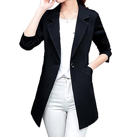 Scothen Femme Jersey veste blazer coton doublure satin doublée à manches 3/4 affaires Drapée blazer à manches longues avec le côté ouverture frontale poche monochrome Basic Klas veste élégante