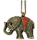 Rétro rouge Rhinestone Bronze Grand Elephant Pendant long collier de chaîne