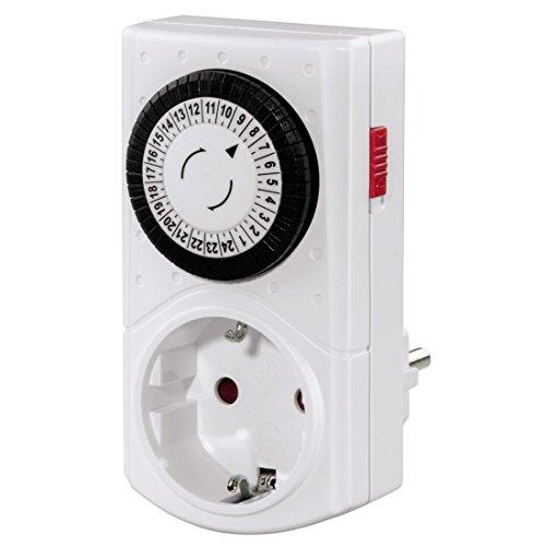 Hama Mechanische Zeitschaltuhr Mini (Tageszeitschaltuhr, 30 min Schaltintervall, mit Kindersicherung, 3500 W) weiß