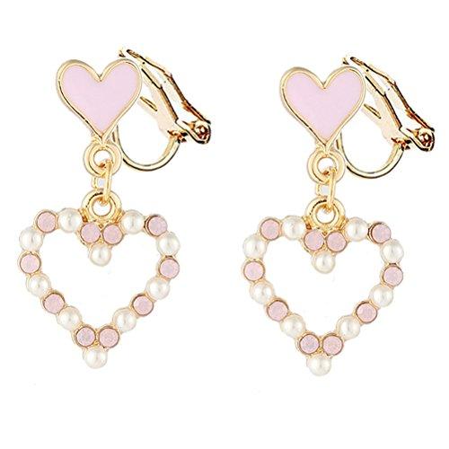 Pad Love Herz Faux Perlen Baumeln für Mädchen Kid Kein Piercing Goldton Jewelry (Kinder-clip Auf Ohrringe)