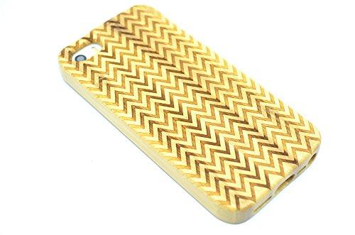 RoseFlower® iPhone SE / iPhone 5S / iPhone 5 Holzhülle - Kirschholz - NatürlicheHandgemachteBambus / Holz Schutzhüllemit Kostenlose Displayschutzfolie für Ihr Smartphone Bambus-Welle
