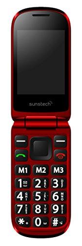 Sunstech CELT20RD - Móvil con pantalla doble (Bluetooth, SD, cámara, botón SOS, linterna), color rojo