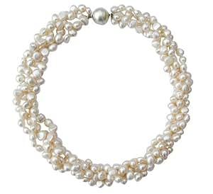 Gros collier à 4 rangs en perles de culture d'eau douce baroques Blanches avec fermoir magnétique rond en argentcarte cadeau.