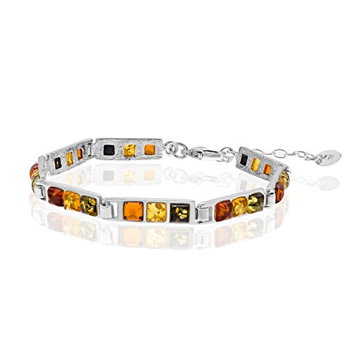 Copal Damen Armband Bernstein Silber Natur Bunt Längen-verstellbar Schmucketui Liebe Geschenke für Frauen
