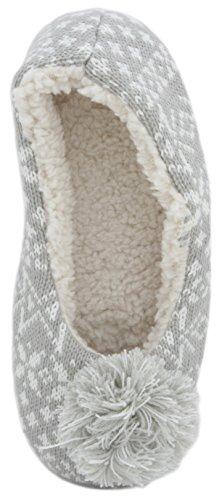 Pantofole da donna a maglia, stile ballerina, con pom pom Grey