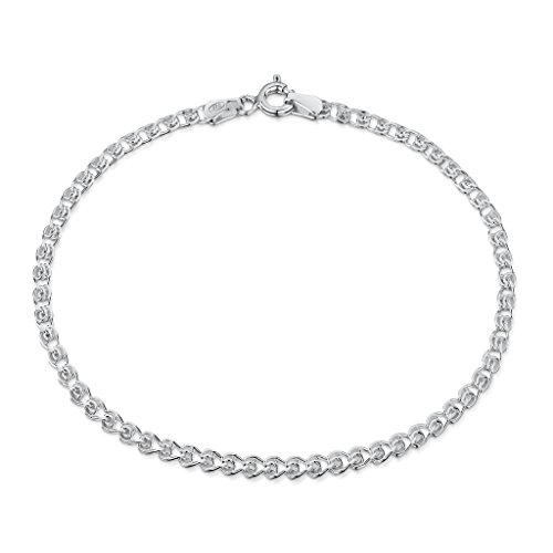 silber Damen-Armkette - Herzkette Armband - 2.3 mm Breite - Verschiedene Längen: 18 19 20 cm (20cm) (Bead-armbänder Bedeutung)
