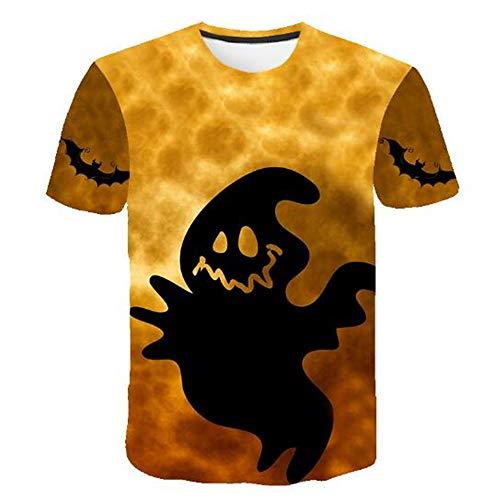 Herren Neuheit T-Shirt 2019 Sommer Casual Kurzarm 3D Digital Gedruckt T Shirt Tops Premium,3D-Druck Halloween - EIN gelbes L