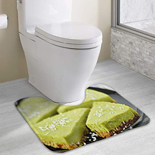 Uosliks Matcha Cake Non Slip U-Shaped Toilet Carpet 15.8inch19.3inch Bathroom Toilet Mat -